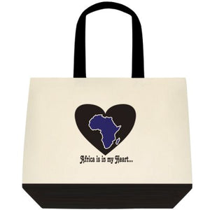 Africa is in my Heart V1 (In/Bk/Wh) Tote Bag