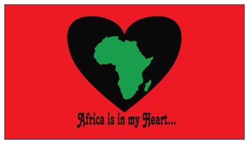 Africa is in my Heart V2 (Rd/Bk/Gr) Small Refrigerator Magnet