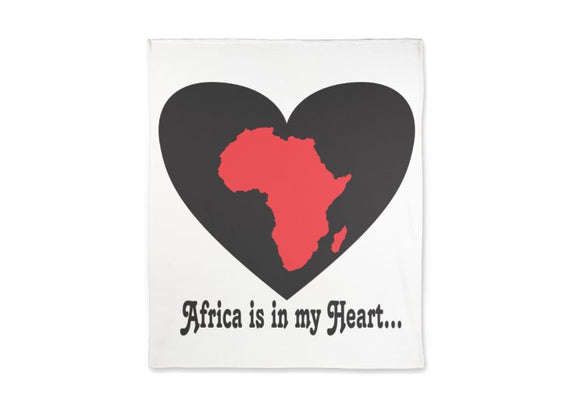 Africa is in my Heart V4 (Wh/Bk/Rd) Fleece Blanket