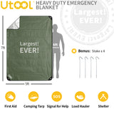 UTOOL 3 Layer Heavy Duty Emergency Blanket, Waterproof Insulated Tarp, Reflective Blanket Tarp, Space Blankets Survival, Thermal Blanket for Hiking, Camping