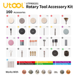 UTOOL 160pcs All-Purpose Rotary Tool Accessories Kit, Universal Fitment for DIY Woodworking, Cutting, Grinding, Sanding, Sharpening, Carving and Polishing