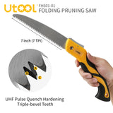 UTOOL Pruning Saw Folding Hand Saw with 7-Inch Straight Blade and Trihedral Gear-Grinding Technology for Pruning Bamboo, Trimming Tree Branches, Cutting Dry Wood, Sawing Bone