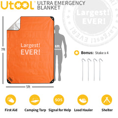 UTOOL Ultra Emergency Blanket Survival Blanket Heavy Duty Thermal Outdoor Waterproof Reusable Heat Retention Extra Large, Orange