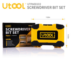 Impact Driver Bit Set, Utool 36pcs Impact Screwdri and Drill Bits Mixed Set Including 27 Screwdriver Bits, 3 HSS Twist Drill Bits, 3 Magnetic Nut Drivers, 2 Socket Adaptors, 1 Magnetic Bit Holder