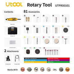 Utool 130W Rotary Tool with Keyless Chuck, Flexible Shaft 62 Accessories, 2 Attachments 6 Variable Speed