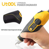 Utool Engraver, 24W Engraving Tool with Soft Rubber Grip for Wood Metal Glass Engraving & Etching with 4 Replaceable Tungsten Carbide Steel Bits & Letter/Number Templat