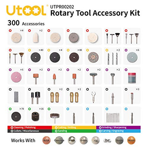 300pcs Rotary Tool Accessories Kit