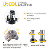UTOOL Grease Gun Heavy Duty Pistol Grip Grease Gun Set with 7,000 PSI, 14 oz Load, 18 Inch Spring Flex Hose, 2 Working Coupler, 2 Extension Rigid Pipe and 1 Sharp Type Nozzle Included