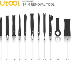UTOOL Trim Removal Tool Kit Pro 18pcs for Auto Car Door Trim Panel Removal with Clip Fastener Remover Pliers and Radio Audio Stereo Removal Tools, Black