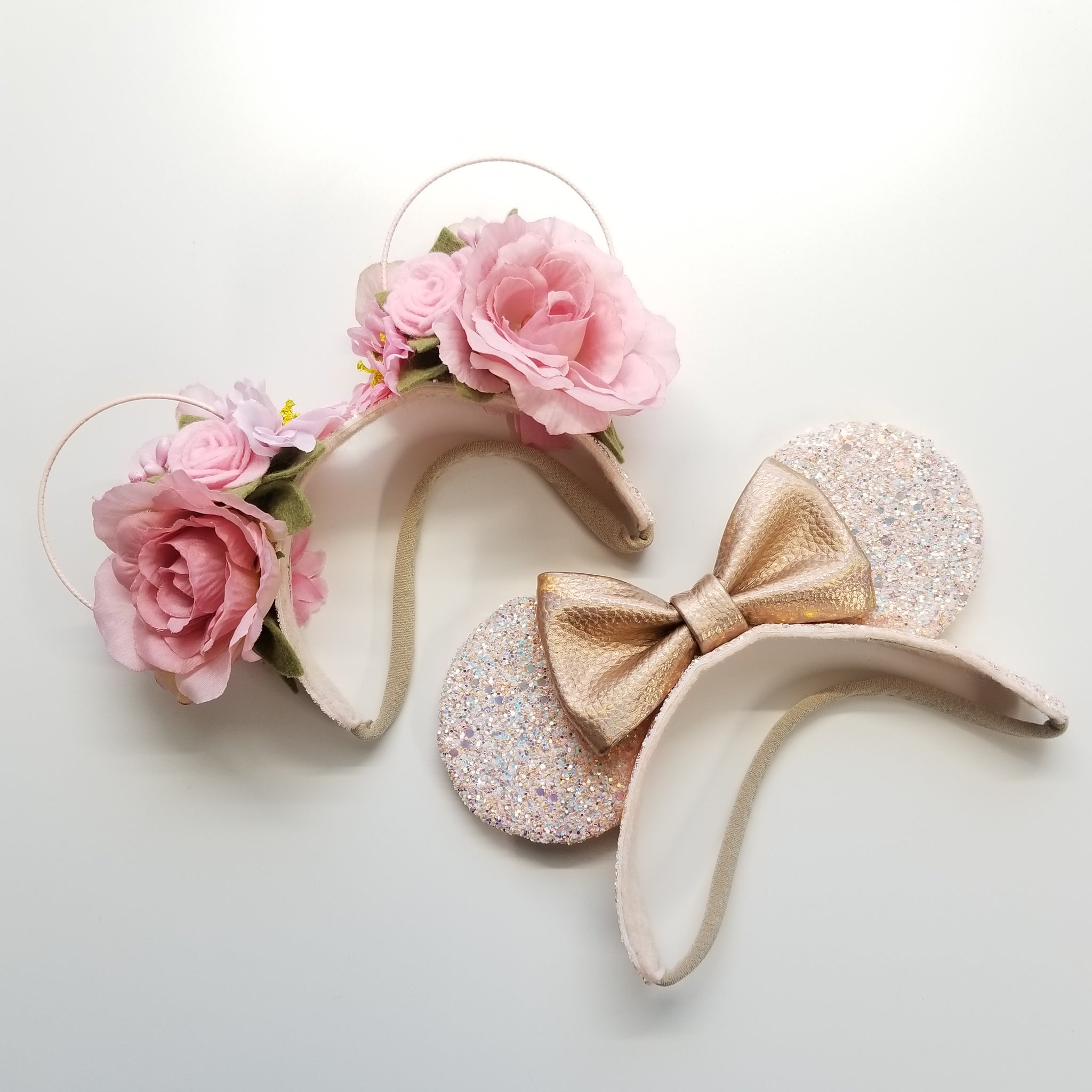 Mouse Ears floral Crown, Soft Base, Pink and Rose gold