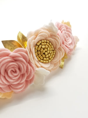 Blush and gold Flower Crown, Felt Floral Headband, Vanaguelite, baby accessories.