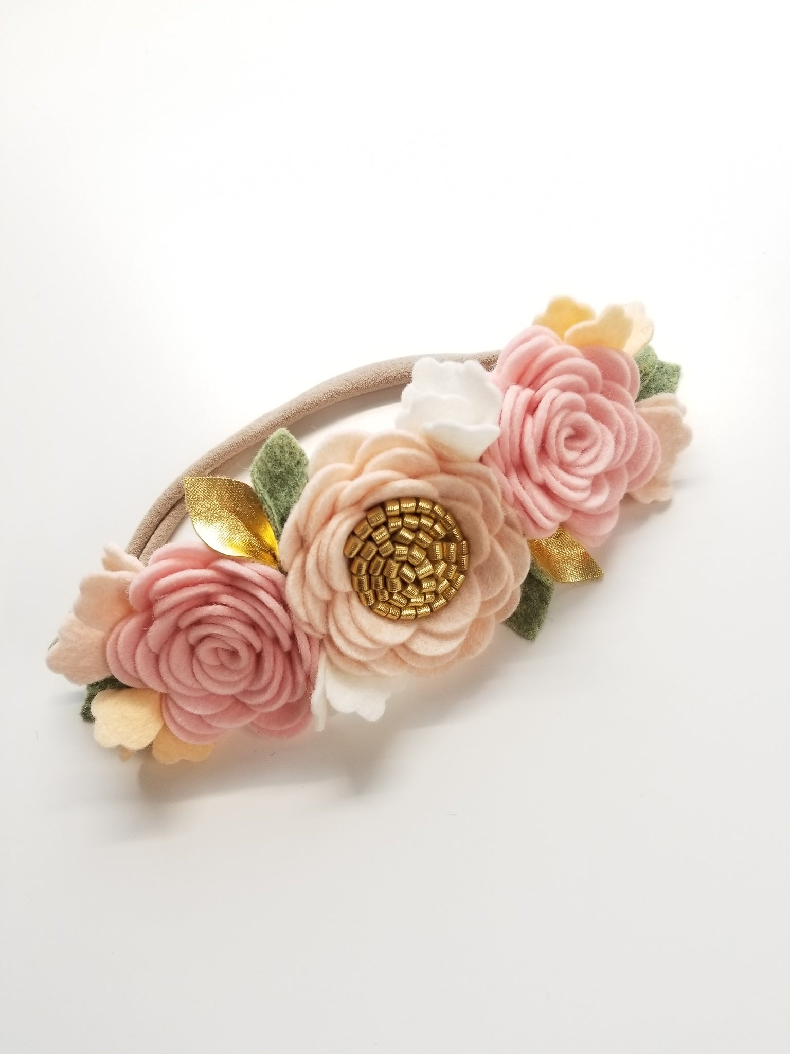 Blush Flower Crown, Floral Headband, felt flower Vanaguelite