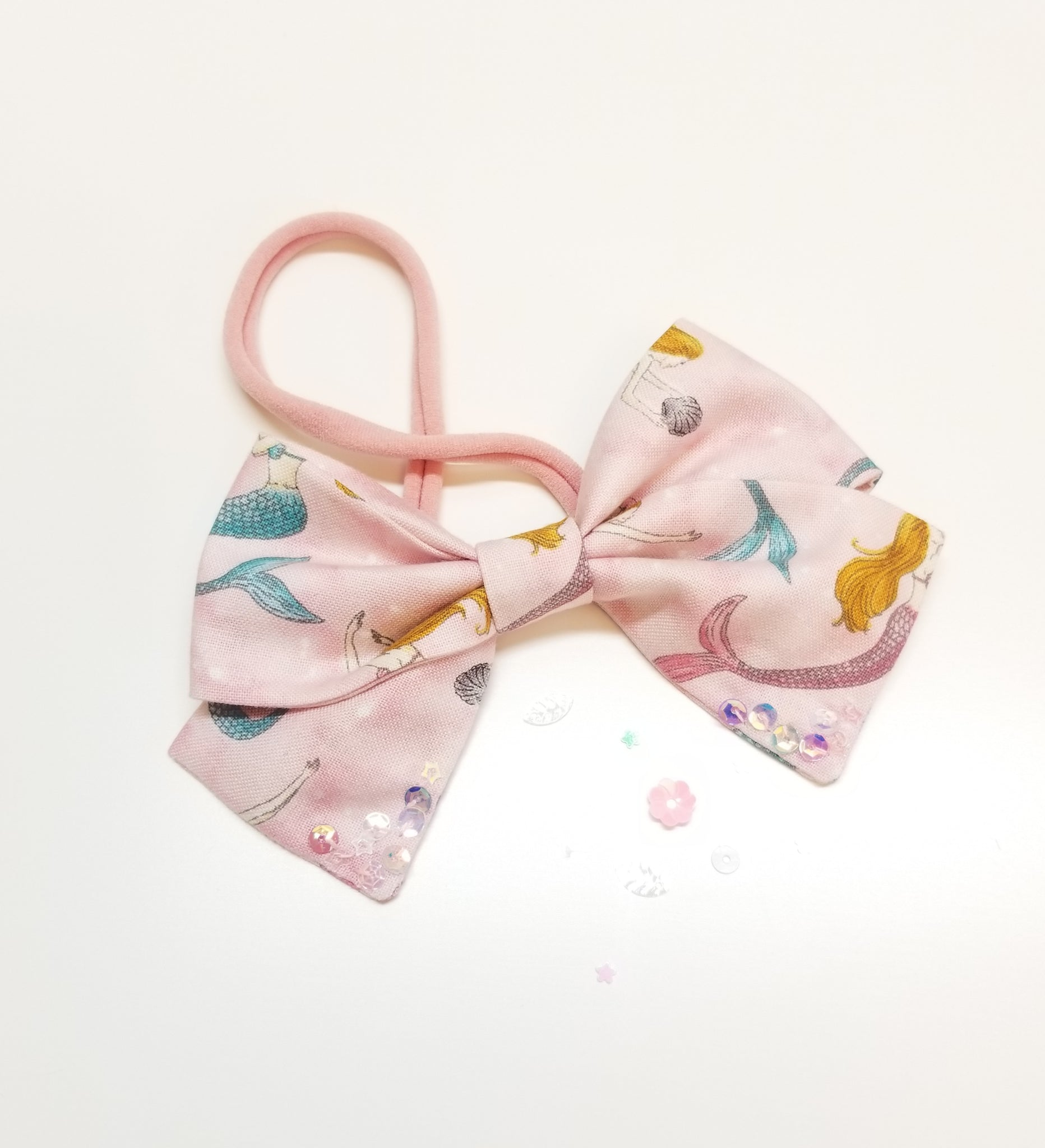 Baby Bows, Magical Mermaid Bow, Nylon Headband or Hair Clip