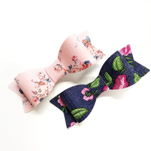 Baby bows, Floral Bows soft faux leather, Set of 2 Bows 3 inches