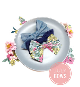 July Bows Set, baby bows nylon headbands or alligator clips, limited monthly edition