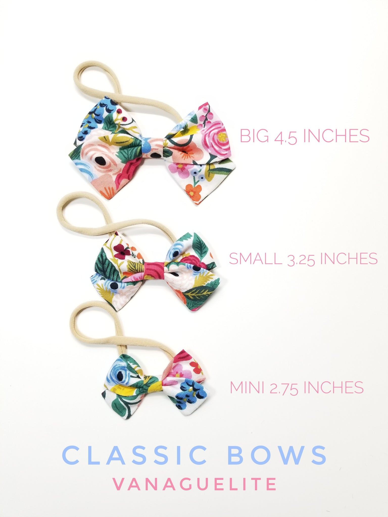 Baby Bows Vanaguelite, Nylon Headbands or Hair Clips, Ivory base, Newborn to Big Girls