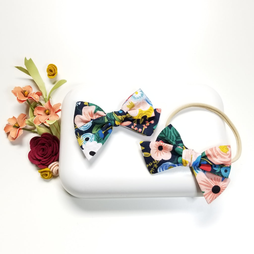 Baby Bows Vanaguelite, Nylon Headbands or Hair Clips, Tied Bows, Navy base, Newborn to Big Girls