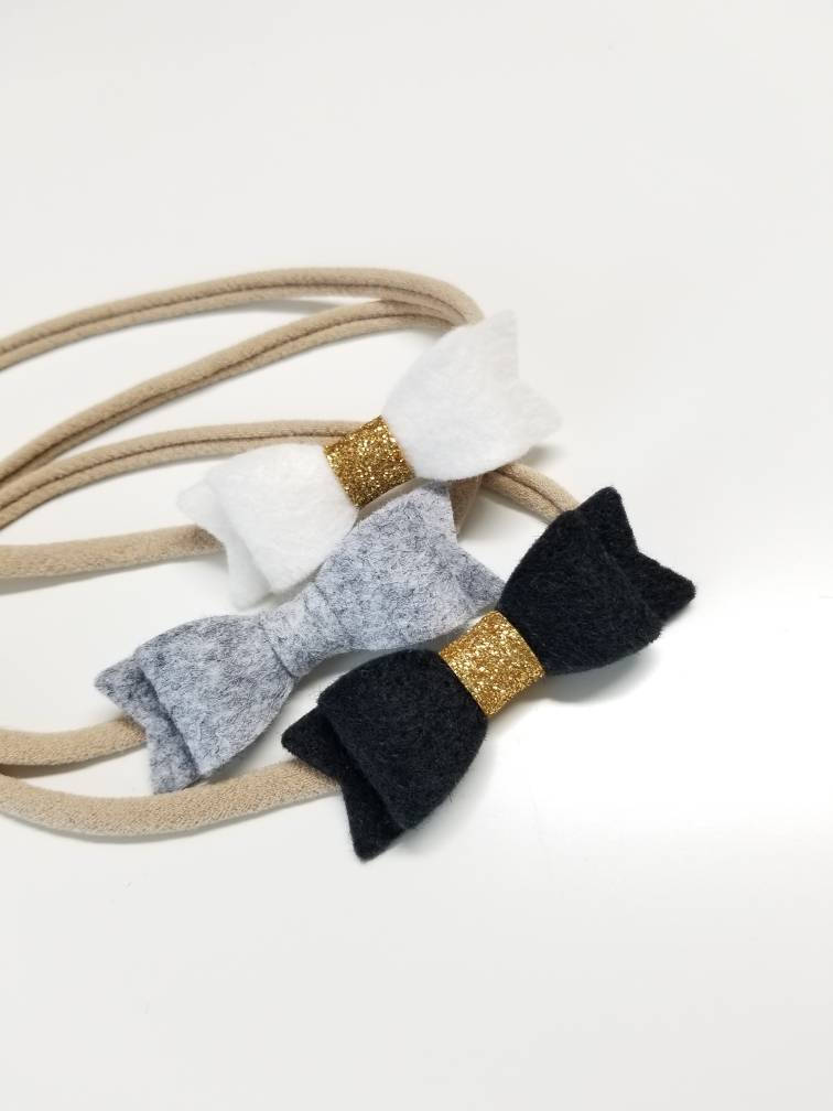 Handmade Mini Bows, set of 3, Baby headbands, nylon headband, blush, mustard, navy, blue, black, white, gold, silver, baby bow, newborn bow