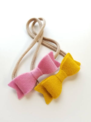 Baby Mini Bow Nylon Headband or alligator clip