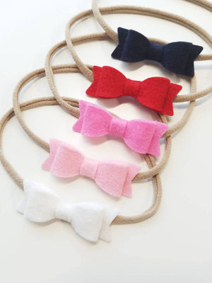 Navy and pink, baby bows, nylon headbands, hair accessories, gift set, baby girl, vanaguelite, baby hair, felt bows, mini bow.