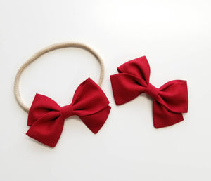Deep Red, baby Bows, Nylon Headband, Hair Clips, Vanaguelite, cotton headbands, hair accessories.