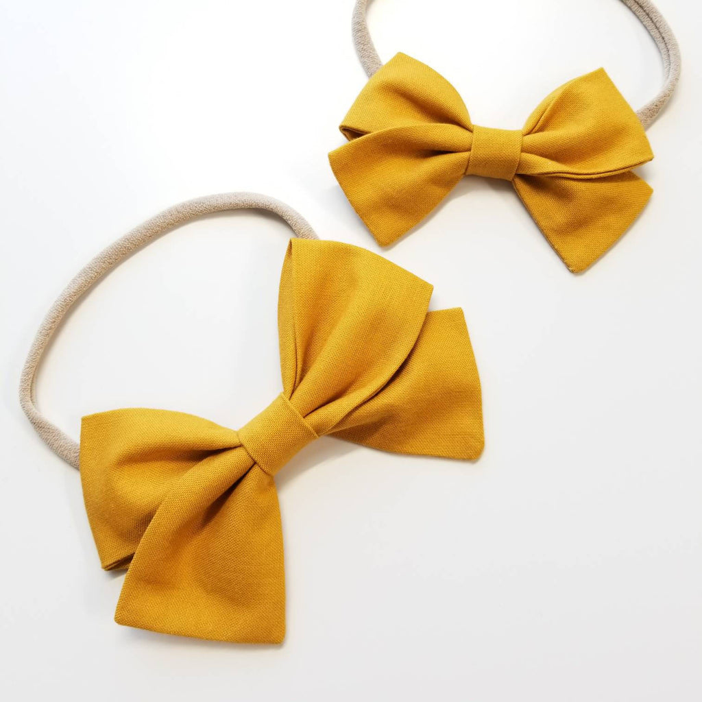 Solid Mustard Handmade Bow Nylon Headband or Hair Clip