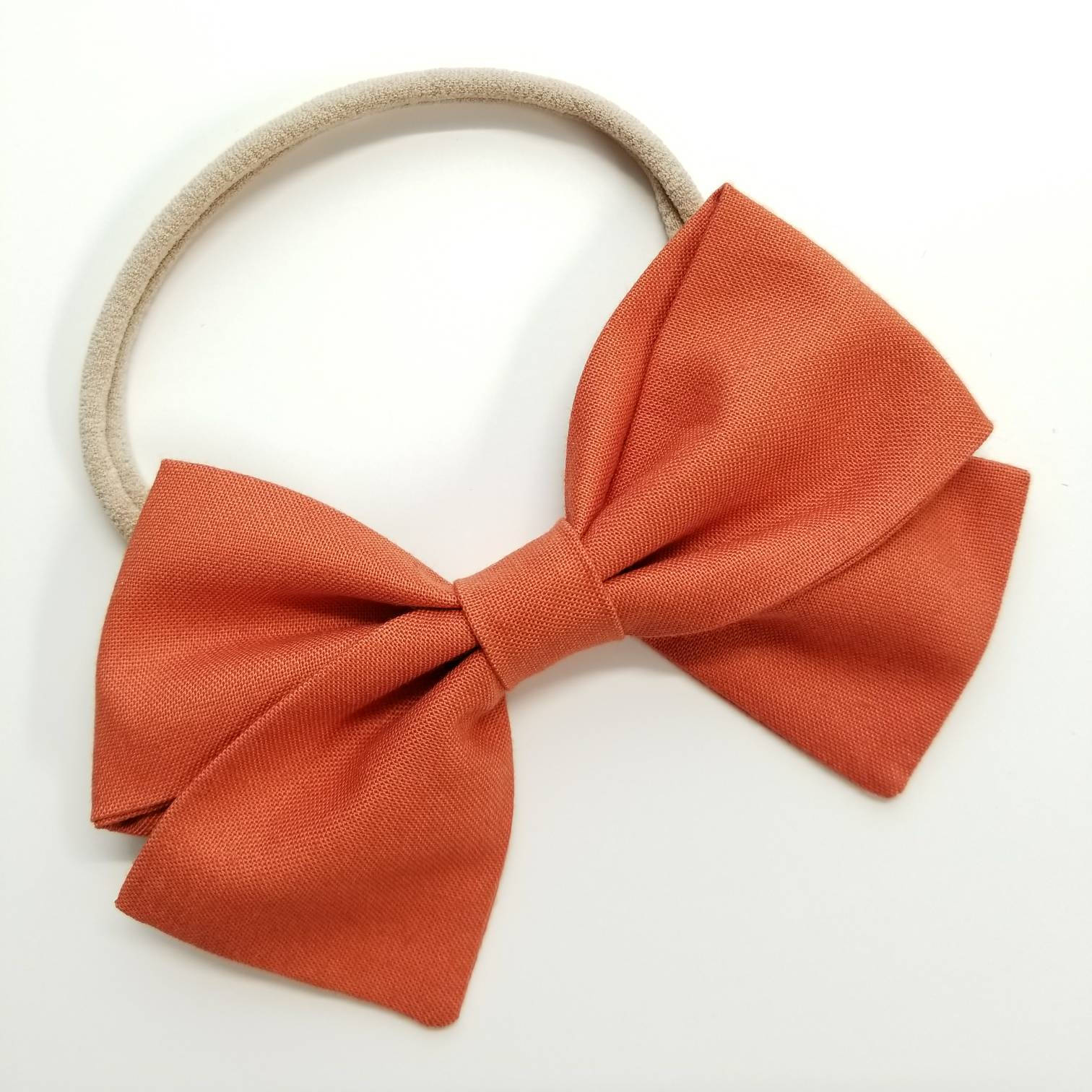 Copper, Handmade Bow, Nylon Headband, fabric bow, Hair Clip, Baby headband, baby bow, Vanaguelite, hair accessories,