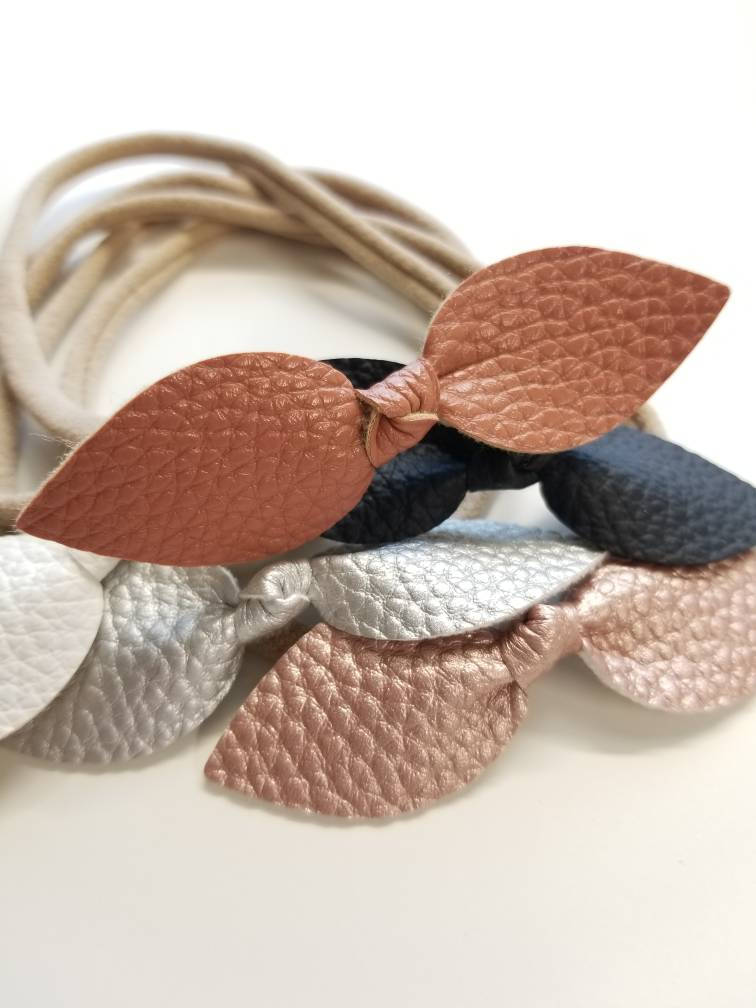 Baby headbands, Dusty Pink collection, knot bows, nylon headbands, soft faux leather, vanaguelite