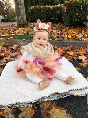 Woodland Flower crown, Birthday, Photo props (Oh!!! Deer) baby girl headband, Vanaguelite, blush, peaches, vanilla