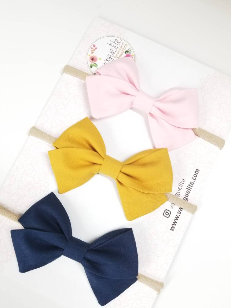 Baby bows Handmade, Nylon Headbands or Hair Clips, set of 3 bows
