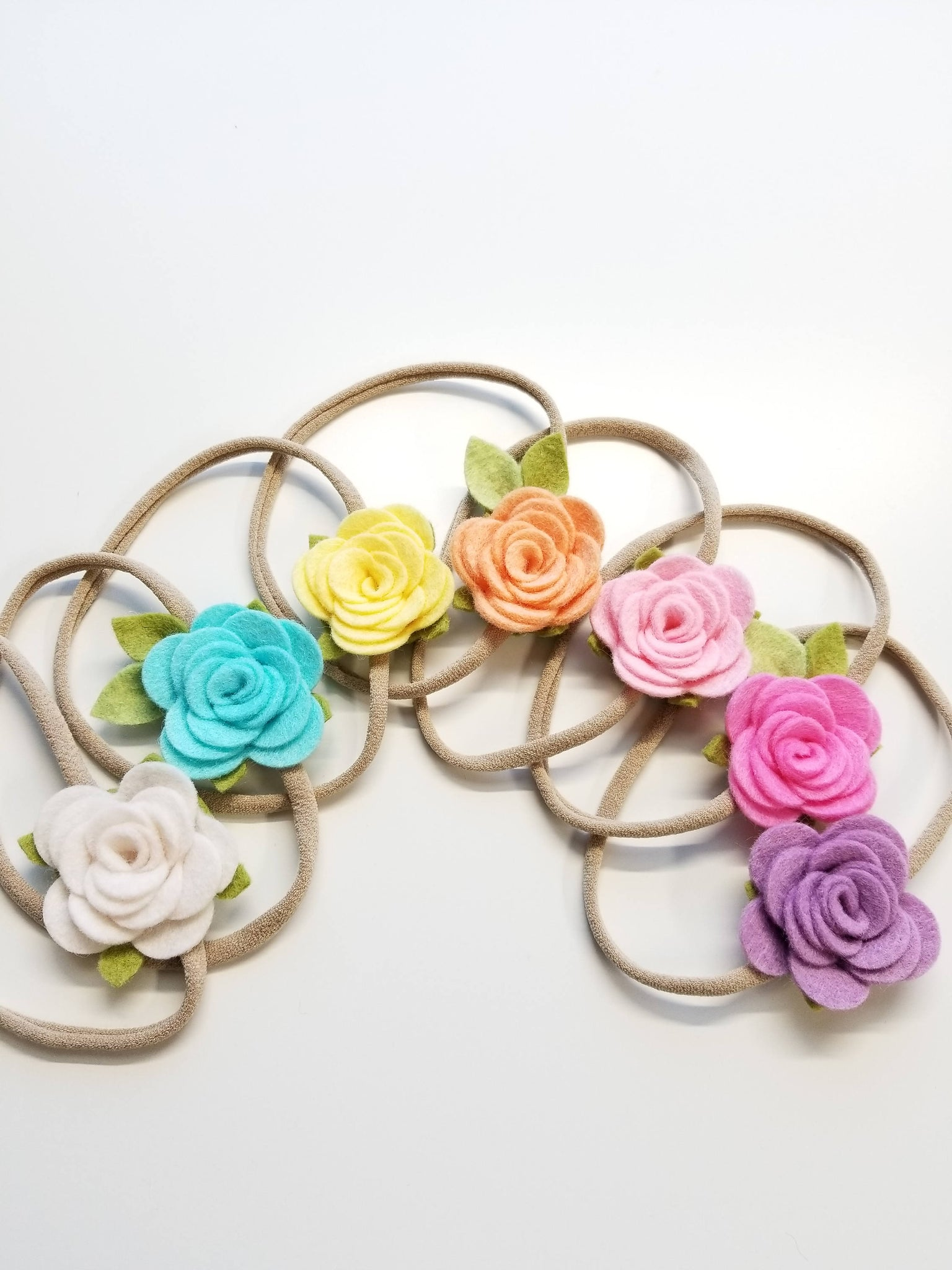 Flower rainbow, nylon headbands, felt flower, baby floral, hair accessories, vanaguelite, set 7