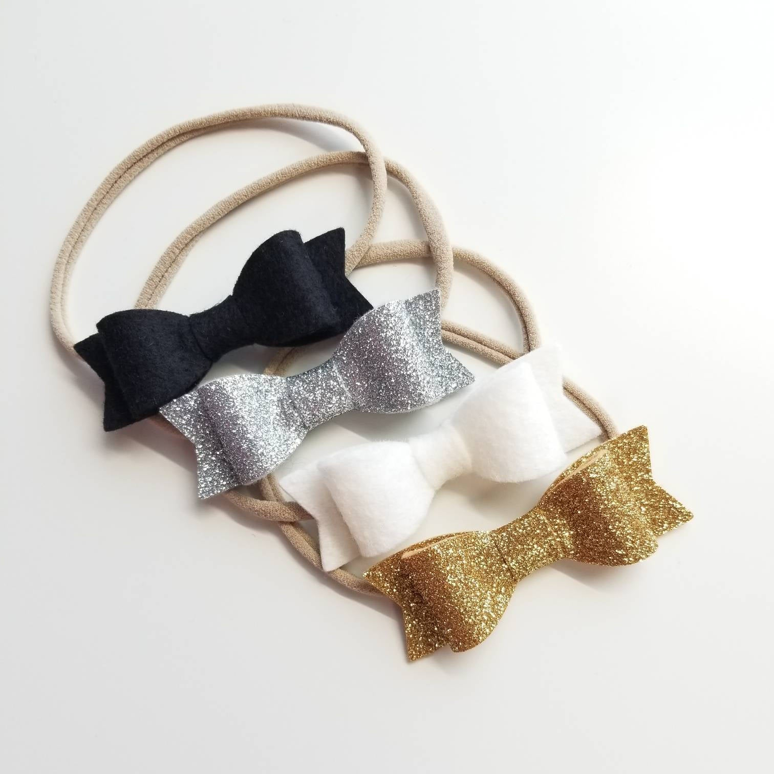 Gold and Silver Special Handmade Set of 4 BIG BOWS baby headbands
