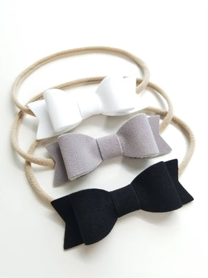 Velvet, BIG Bows, white, gray, or black, nylon headbands, velvet black, velvet gray, velvet baby bows, vanaguelite, velvet bows.