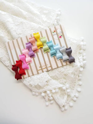 CUSTOM COLORS Rainbow Set of 12 Mini Bow baby Nylon Headbands 2 inches