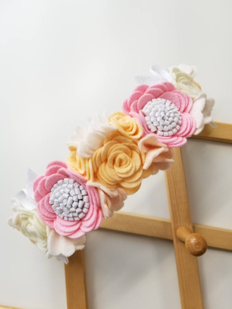 Floral Headband/ Flower crown/ First Birthday/ Crown Ballerina Rose/ Vanaguelite/ felt flower/ baby crown/ ballerina/ rose.