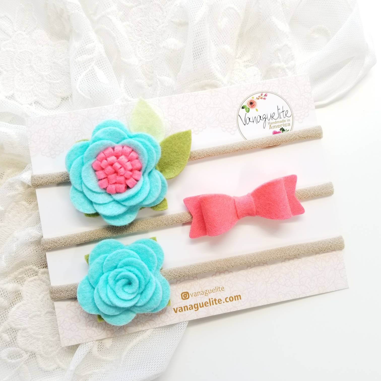 Flower Bows, baby headbands, Aqua Hot Coral, Vanaguelite, Floral Baby Headband, baby accessories.