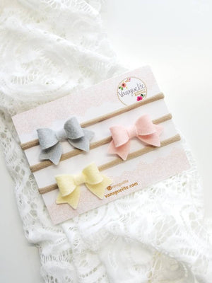 Baby bows, Handmade Mini Bows, set of 3, Baby headbands, nylon fits all, bright red, silver grey, pale pink, cream