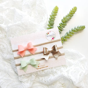 Baby bows, Handmade Mini Bows, set of 3, Baby headbands, nylon fits all, coral, rose gold and mint