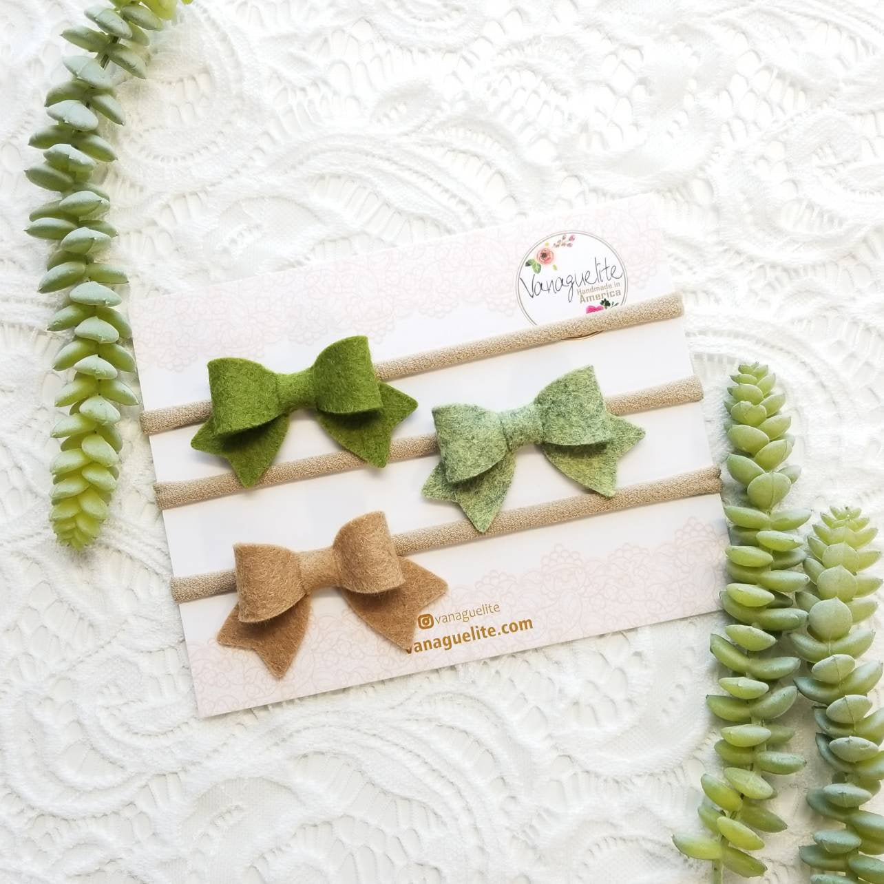 Baby bows, Handmade Mini Bows, set of 3, Baby headbands, nylon fits all, moss green, magical forest, camel