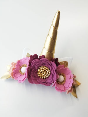 Unicorn Flower, crown Birthday, felt flower crown, woodland, vanaguelite, hair accessories, Photo props, mulberry, pink, (Free Shipping)