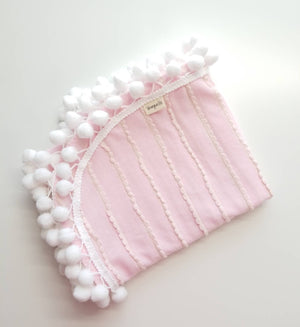 Baby Pom pom Blanket, Light Pink waves Cotton Knit, baby swaddle, baby girl, baby blankets