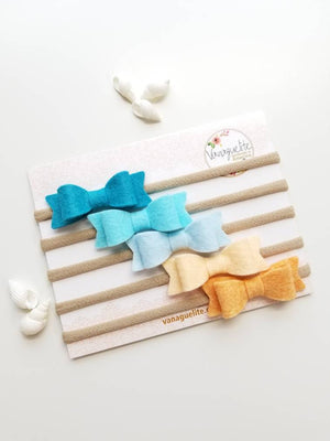 Baby Bows, nylon headbands or clips, Ocean Blue set, hair accessories, alligator clip, baby headband, vanaguelite, baby girl, felt bow.