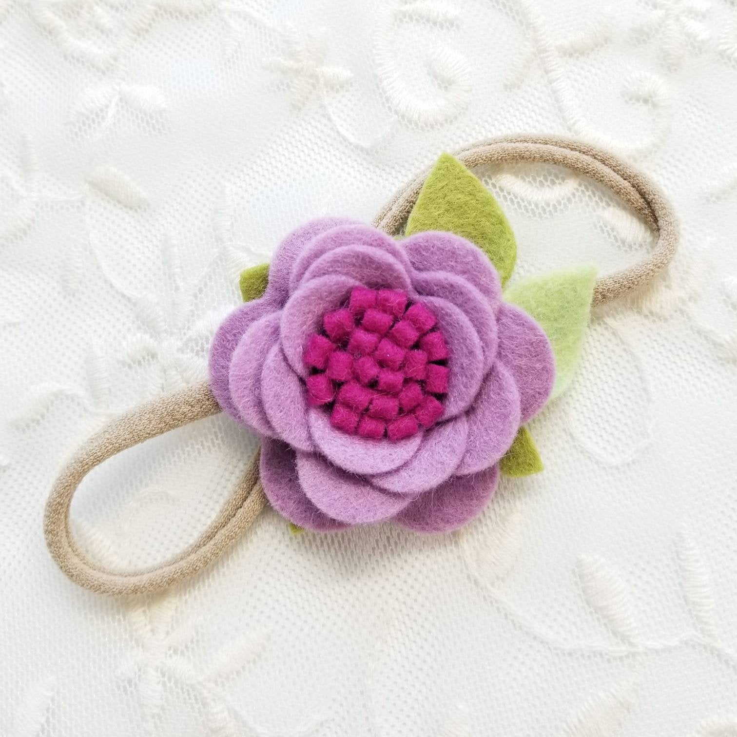 Mulberry, Mini Flower, baby Bows, Floral Baby Headband, vanaguelite, hair accessories, rosettes, flower crown.