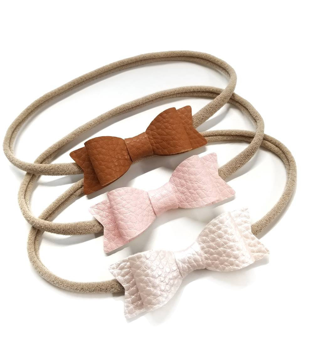 Leather Mini Bows, set of 3 Handmade, Baby headbands, nylon headband, leather headband, Gold, Silver, gray, Blush, Pearl blush, Cognac.