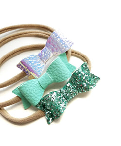 Baby bows, Leather Mini Bows, set of 3 Handmade, Baby headbands, nylon headband, leather headband, mint, iridescent, mint sparkly