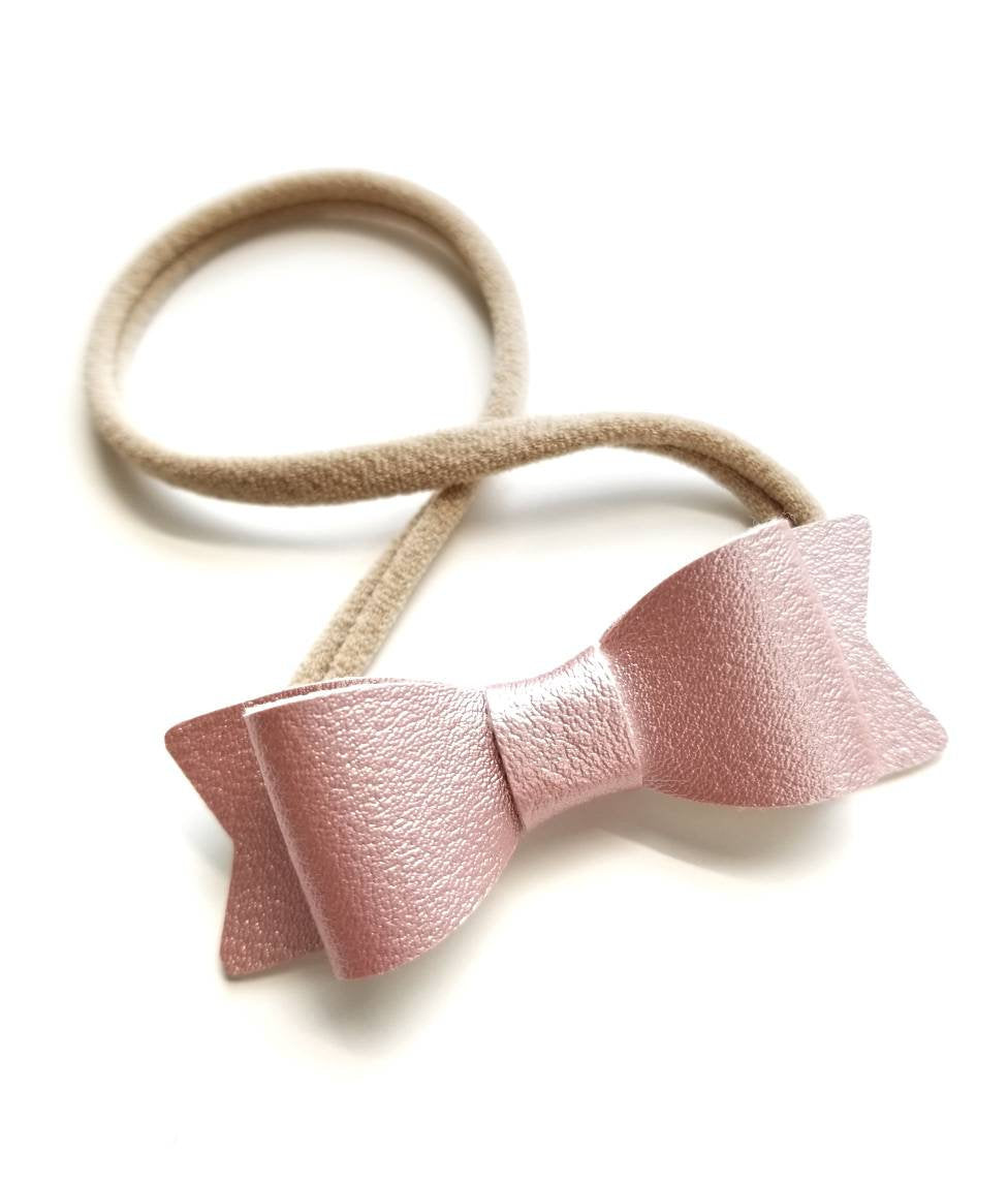 Baby bows, Leather Mini Bows, set of 3 Handmade, Baby headbands, nylon headband, pearly pink, gold, pearly white. 2 inches