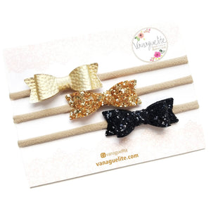 Baby bows, Leather Mini Bows, set of 3 Handmade, Baby headbands, nylon headband, leather headband, gold and black