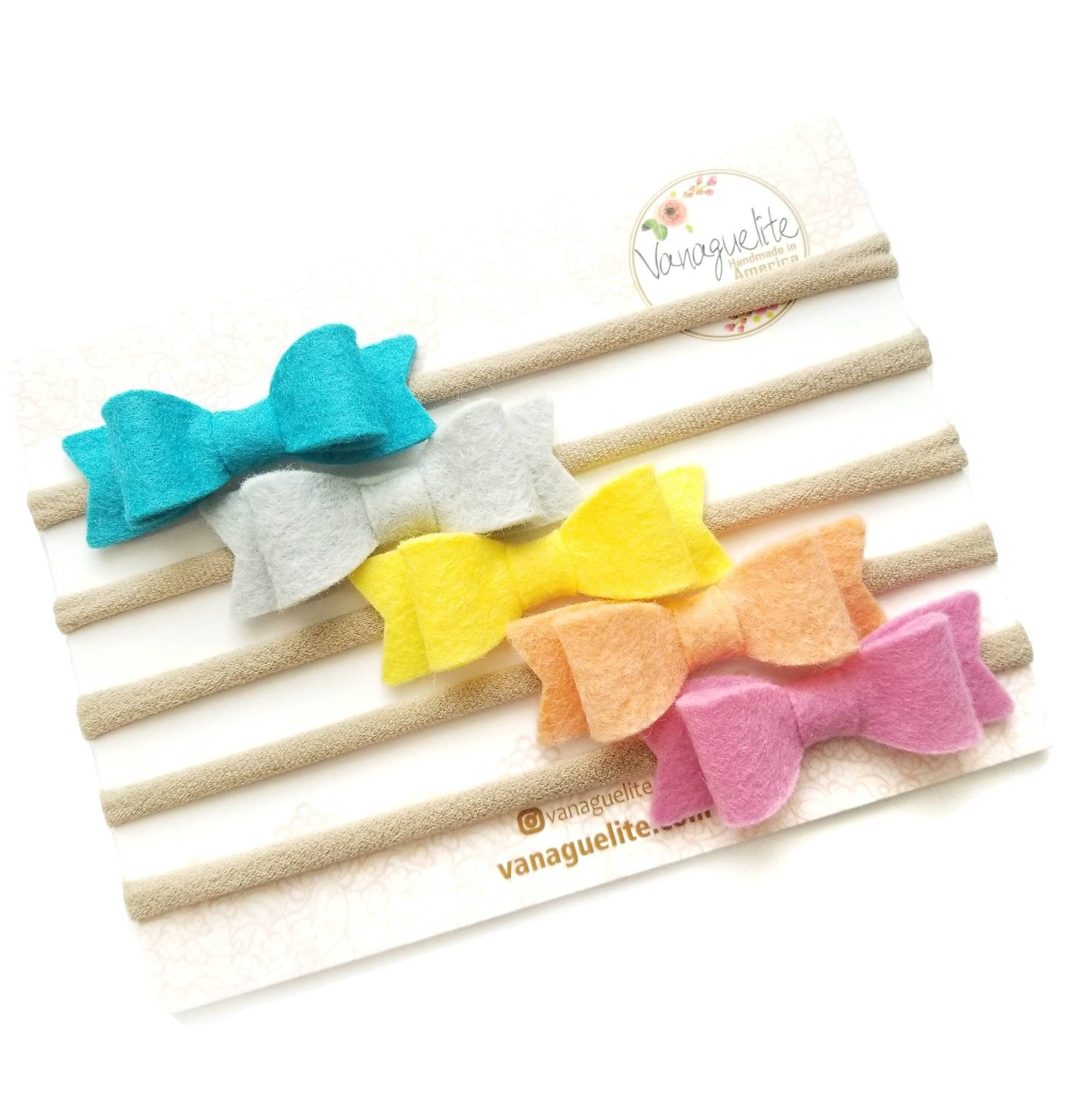 Baby Mini Bows Nylon Headbands Macaroon Color Pallette Collection Set of 5