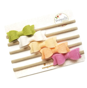 Handmade Baby Bows Nylon Headbands or clips Spring Forest Color Palette