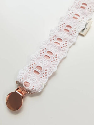 Lace Pacifier Clip, Rose gold clip, baby pacifier clips, white and blush, Vanaguelite, baby pacifier, Rose gold pacifier.